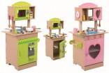 Dětská dřevěná oboustranná  kuchyňka s příslušenstvím NOVINKA