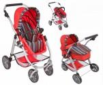 Kombinovaný kočárek pro panenky 3 v 1 - červený nové zboží  AKCE do vyprodani zasob