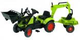 Velký šlapací traktor Claas s vlekem, bagrem a lžící NOVINKA