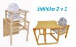Dětská dřevěná jídelní židlička se stolečkem - 2 v 1  NOVINKA
