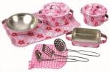 Sada dětského nádobíčka -  nerez -  růžové s kytičkami NOVINKA