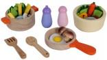 Dřevěné potraviny + nádobíčko do dětské kuchyňky nové